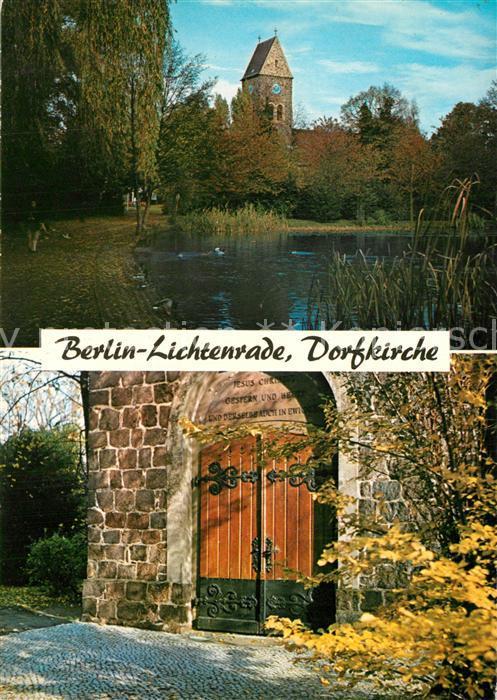 Karte Berlin Lichtenrade.Ak Ansichtskarte Lichtenrade Dorfkirche Portal Teich Lichtenrade