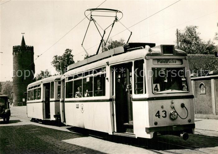 AK / Ansichtskarte Strassenbahn Serie 80 Jahre Strassenbahn Brandenburg Nr 18 Tw 43 mit Bw 74 Plauer Strasse 1956