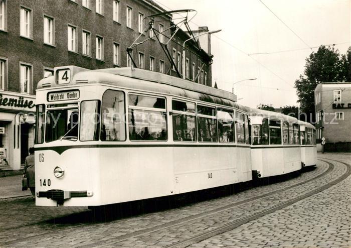 AK / Ansichtskarte Strassenbahn Serie 80 Jahre Strassenbahn Brandenburg Nr 19 Tw 140 mit Bw 242 und 221 am Puschkinplatz