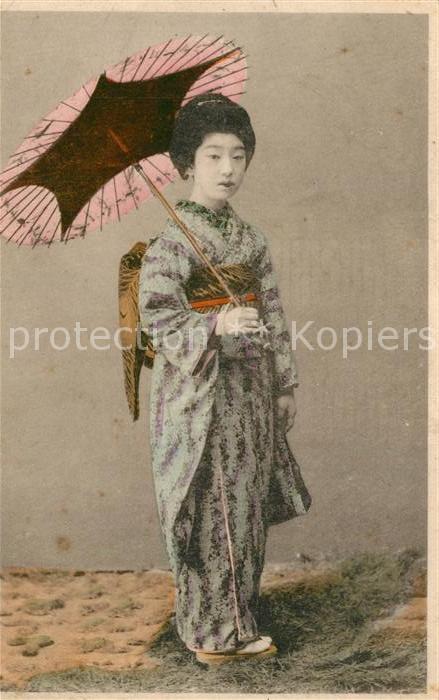 AK / Ansichtskarte Kyoto Frau im Kimono Schirm Kyoto