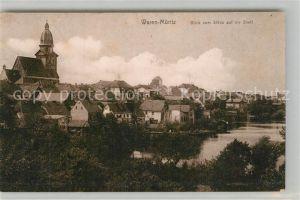AK / Ansichtskarte Waren_Mueritz Blick vom Stuede auf die Stadt Kirche Waren Mueritz
