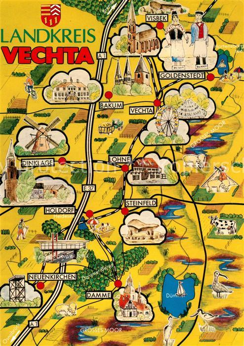 AK / Ansichtskarte Vechta Landkarte des Landkreises Vechta