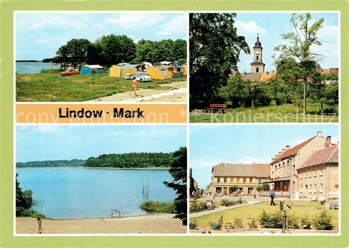 AK / Ansichtskarte Lindow_Mark Camping am Gudelacksee Kirche Wutzsee Markt Lindow Mark