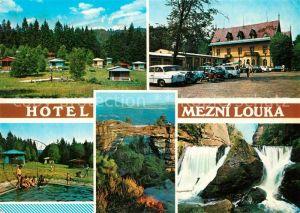 AK / Ansichtskarte Hrensko Hotel Mezni Louka Chatovy tabor Koupaliste Pravcicka brana Divoka souteska Landschaft Wasserfall Hrensko