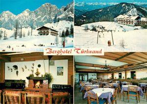 AK / Ansichtskarte Ramsau_Dachstein_Steiermark Berghotel Tuerlwand Kamin Restaurant Wintersportplatz Alpen Ramsau_Dachstein