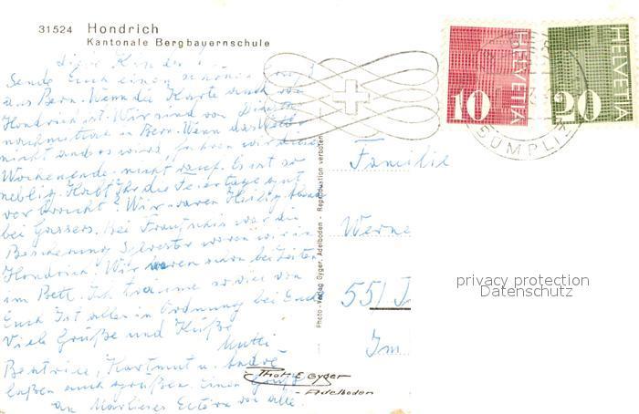 AK / Ansichtskarte Hondrich Kantonale Bergbauernschule Hondrich 1