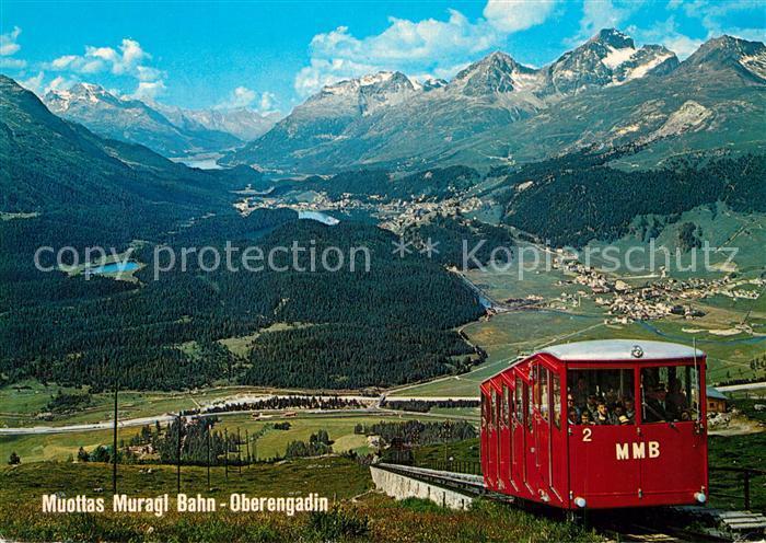 AK / Ansichtskarte Muottas_Muragl Zahnradbahn mit Blick auf das Oberengadin Alpenpanorama Muottas Muragl 0