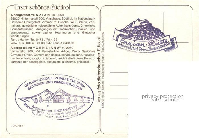 AK / Ansichtskarte Hintermartell Alpengasthof Enzian Ortlergebiet Hintermartell 1