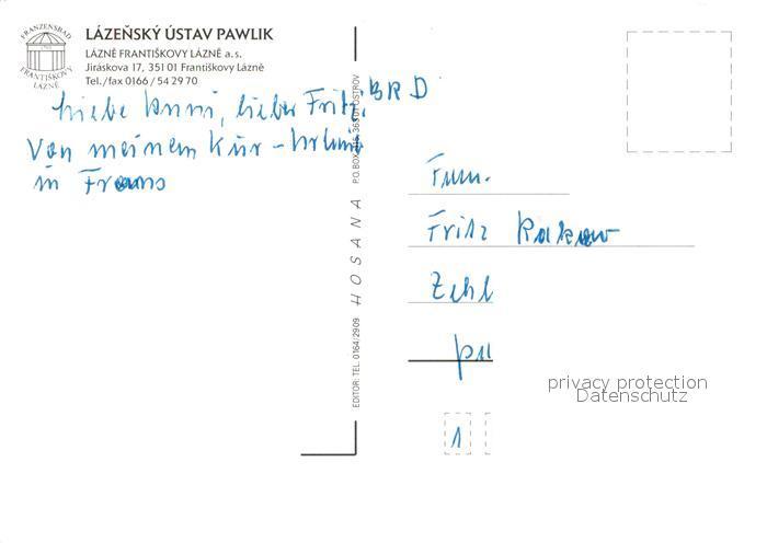 AK / Ansichtskarte Frantiskovy_Lazne Lazensky Ustav Pawlik Restaurant Frantiskovy_Lazne 1