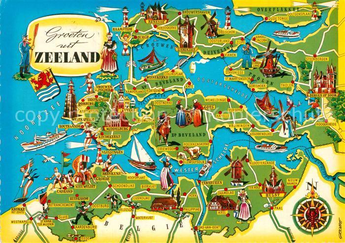 AK / Ansichtskarte Zeeland_Niederlande Landkarte Zeeland_Niederlande 0