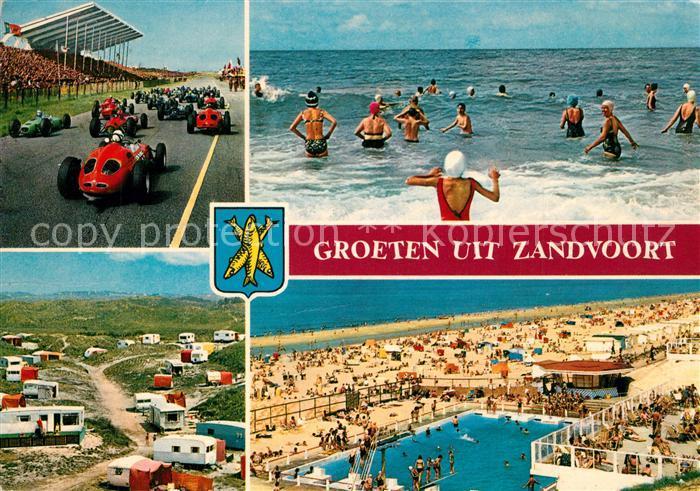 AK / Ansichtskarte Zandvoort_Holland Strand Freibad Campingplatz Autorennen Zandvoort_Holland 0