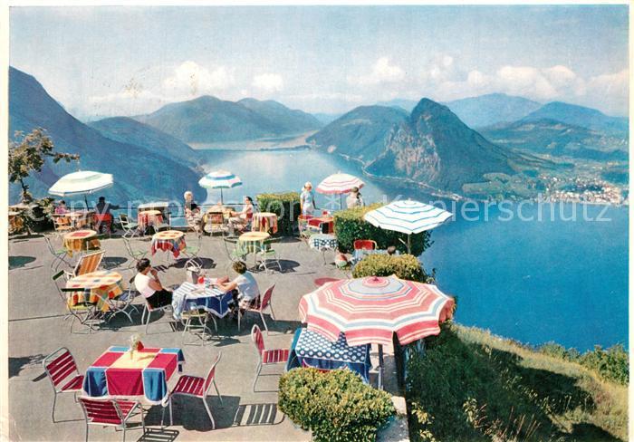 AK / Ansichtskarte Monte_Bre_Lugano Hotel Kulmterrasse Blick auf Luganersee Monte_Bre_Lugano 0