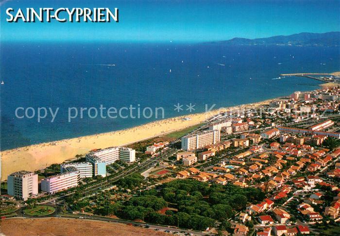 AK / Ansichtskarte Saint Cyprien_Pyrenees Orientales Vue aerienne Collection La Cote Catalane Saint Cyprien 0