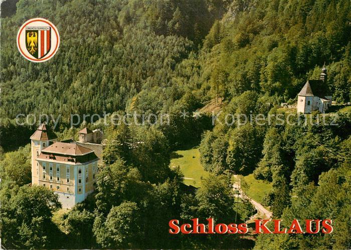 AK / Ansichtskarte Klaus_Pyhrnbahn Schloss Klaus mit Bergkirche Fliegeraufnahme Klaus_Pyhrnbahn 0
