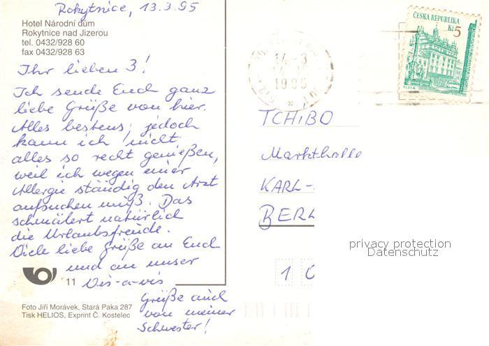 AK / Ansichtskarte Rokytnice_nad_Jizerou Hotel Narodni dum Rokytnice_nad_Jizerou 1