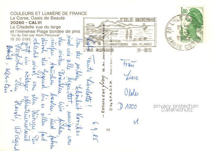 AK / Ansichtskarte Calvi Citadelle vue aerienne Collection Couleurs et Lumiere de France Calvi 1