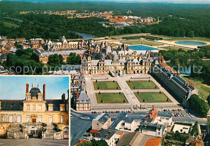 AK / Ansichtskarte Fontainebleau_Seine_et_Marne et ses merveilles Palais Cour des Adieux Escalier du Fer a Cheval vue aerienne Fontainebleau_Seine 0