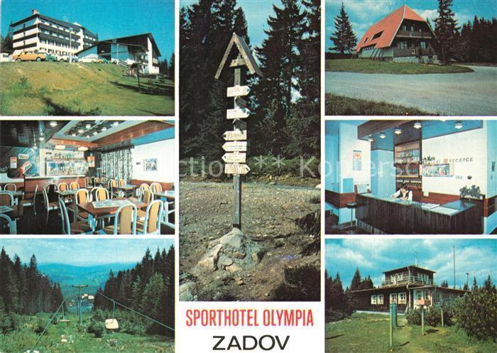 AK / Ansichtskarte Zadov_Stachy Sporthotel Olympia Bar Restaurant Rezeption Berglift Wegweiser Wetterstation  0