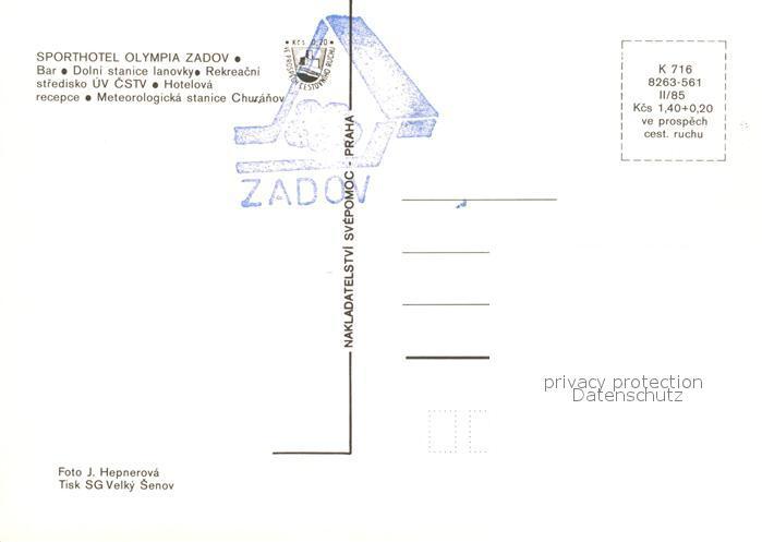 AK / Ansichtskarte Zadov_Stachy Sporthotel Olympia Bar Restaurant Rezeption Berglift Wegweiser Wetterstation  1