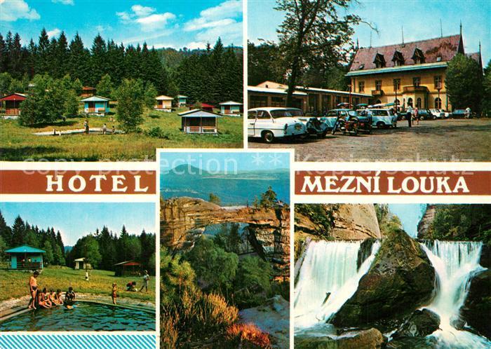 AK / Ansichtskarte Hrensko Hotel Mezni louka Chatovy tabor Koupaliste Pravcicka brana Divoka souteska Hrensko 0