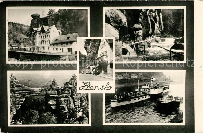 AK / Ansichtskarte Hrensko Hotel Gaststaette Elbe Dampfer Elbsandsteingebirge Felsen Wasserfall Hrensko 0