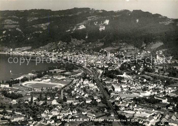 AK / Ansichtskarte Bregenz_Bodensee Fliegeraufnahme mit Pf?nder  Bregenz Bodensee 0