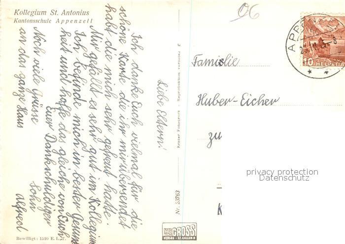 AK / Ansichtskarte Appenzell_IR Kollegium St. Antonius Appenzell IR 1