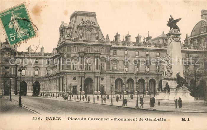 AK / Ansichtskarte Paris Place du Carrousel Monument de Gambetta Paris 0