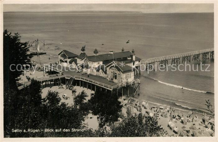 AK / Ansichtskarte Sellin_Ruegen Blick auf den Strand Seebruecke Sellin Ruegen 0