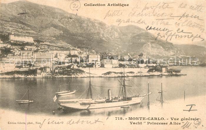 AK / Ansichtskarte Monte Carlo Yacht Princesse Alice Panorama Monte Carlo 0