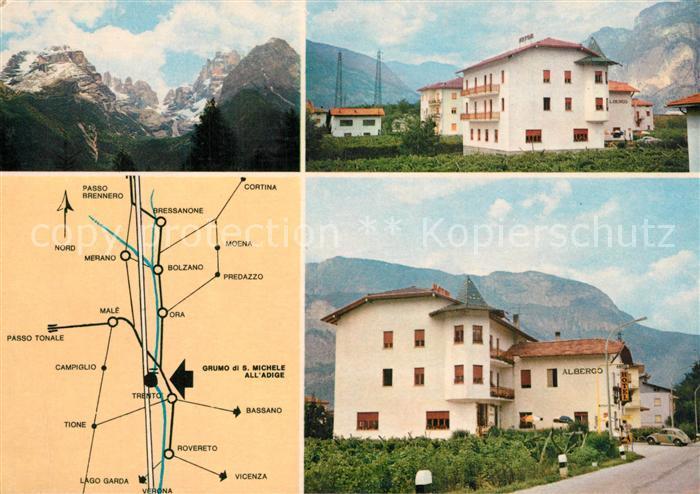 AK / Ansichtskarte San_Michele_all_Adige Albergo Cantaleone Anfahrtsplan San_Michele_all_Adige