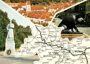 AK / Ansichtskarte Jura Panorama Strassenkarte Monument Statue Wildschwein Jura