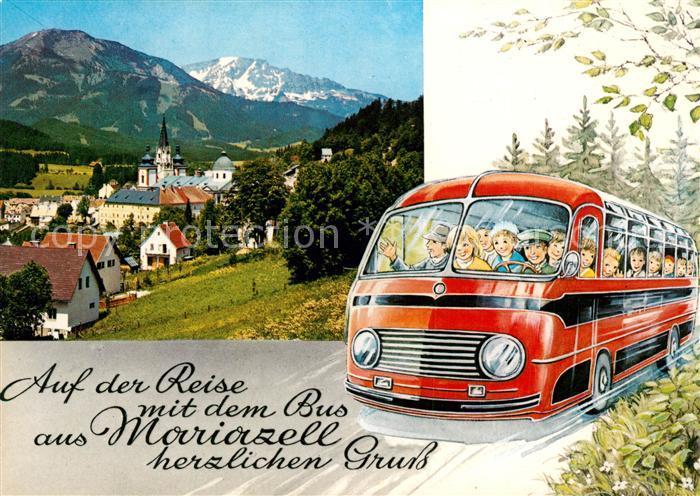 Mariazell_Steiermark Panorama Wallfahrtsort gegen Gemeindealpe und oetscher Busfahrt Kuenstlerkarte Mariazell_Steiermark