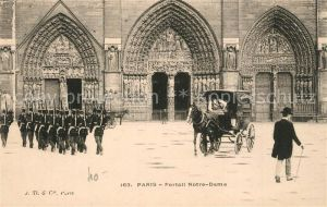 Paris Portail Notre Dame Soldaten Pferdekutsche Paris