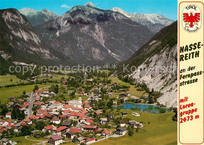 AK / Ansichtskarte Nassereith mit Loreagruppe Fernpassstrasse Fliegeraufnahme Nassereith