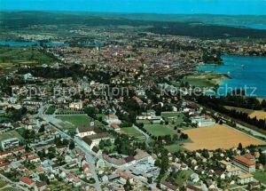 Kreuzlingen_TG mit Konstanz Rhein Bodensee ueberlingersee Fliegeraufnahme Kreuzlingen TG