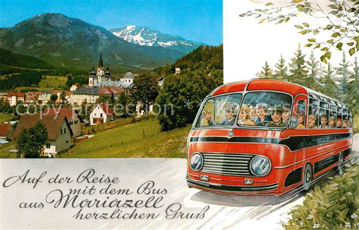 Mariazell_Steiermark Ortsansicht mit Kirche gegen Gemeindealpe und oetscher Busreise Kuenstlerkarte Mariazell_Steiermark
