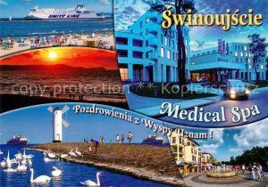 Swinoujscie_Swinemuende Faehrschiff Unity Line Windmuehle Schwaene  Swinoujscie Swinemuende