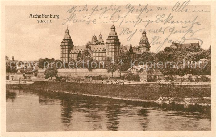 AK / Ansichtskarte Aschaffenburg_Main Blick zum Schloss Feldpost Aschaffenburg Main