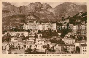 AK / Ansichtskarte Menton_Alpes_Maritimes La Gare les Hotels et les Montagnes Sainte Agnes Menton_Alpes_Maritimes