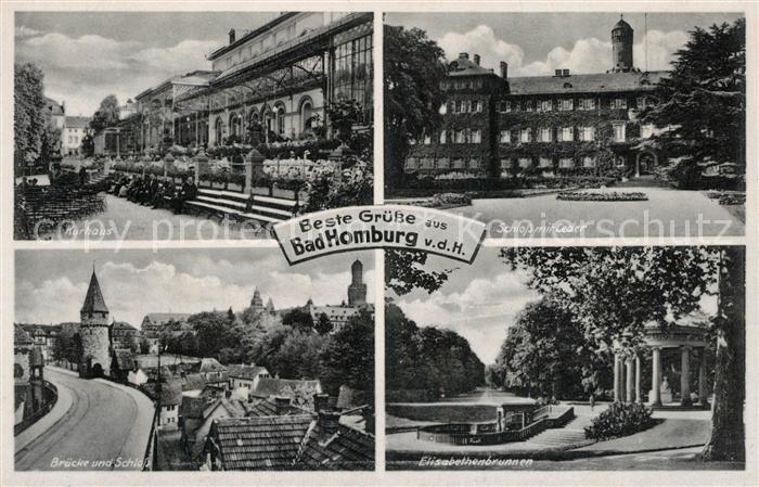 AK / Ansichtskarte Bad_Homburg Kurhaus Schloss mit Ceder Bruecke Elisabethenbrunnen Bad_Homburg