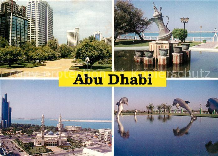 AK / Ansichtskarte Abu_Dhabi Hochhaeuser Brunnen Wunderlampe Dephine Abu_Dhabi