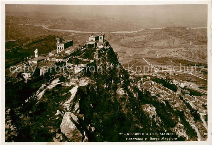AK / Ansichtskarte San Marino Fliegeraufnahme Panorama Borgo Maggiore San Marino