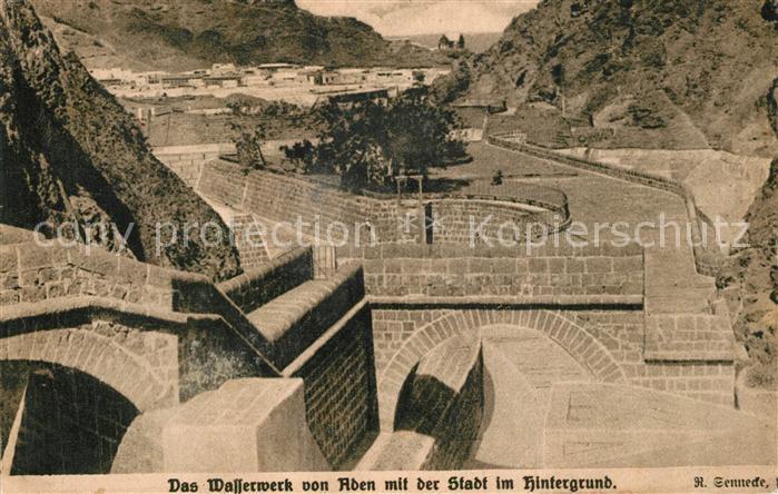 AK / Ansichtskarte Aden Wasserwerk mit Blick zur Stadt Aden