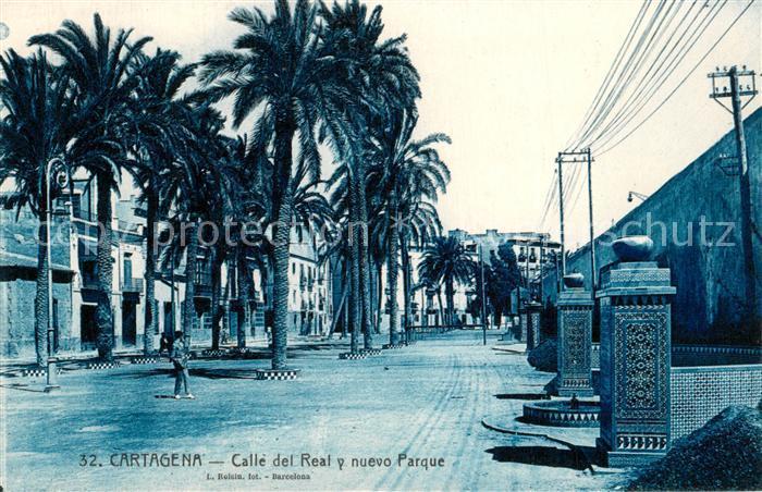 AK / Ansichtskarte Cartagena_Murcia Calle del Real y nuevo Parque Cartagena Murcia