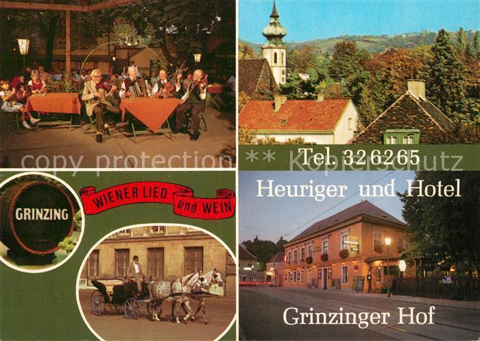 AK / Ansichtskarte Grinzing_Wien Heuriger Hotel Grinzinger Hof Pferdekutsche Kirche Grinzing Wien