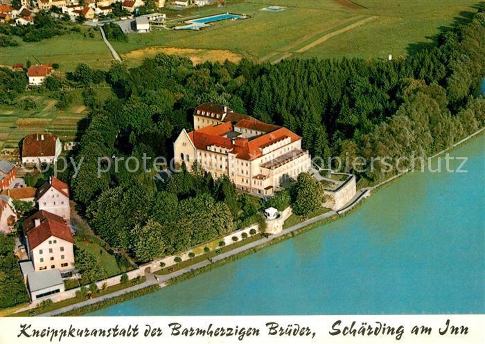 AK / Ansichtskarte Schaerding_Inn Fliegeraufnahme Kneippkuranstalt Barmherzige Brueder Schaerding Inn