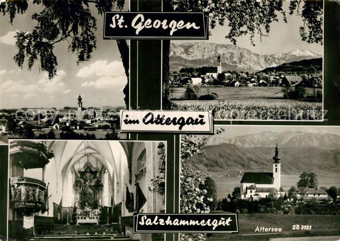 AK / Ansichtskarte St_Georgen_Attergau Gesamtansicht mit Alpenpanorama Motiv mit Kirche Innenansicht Kanzel St_Georgen_Attergau