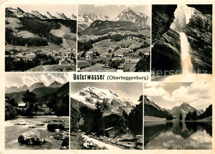 AK / Ansichtskarte Unterwasser_Toggenburg Gesamtansicht mit Alpenpanorama Wasserfall See Unterwasser Toggenburg