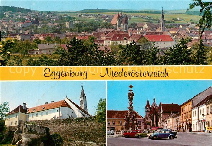 AK / Ansichtskarte Eggenburg_Niederoesterreich Stadtpanorama Stadtmauer Hauptplatz Stephanskirche Dreifaltigkeitssaeule Eggenburg